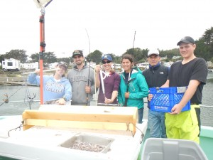 Bodega Bay science crew showing off the different descending devices